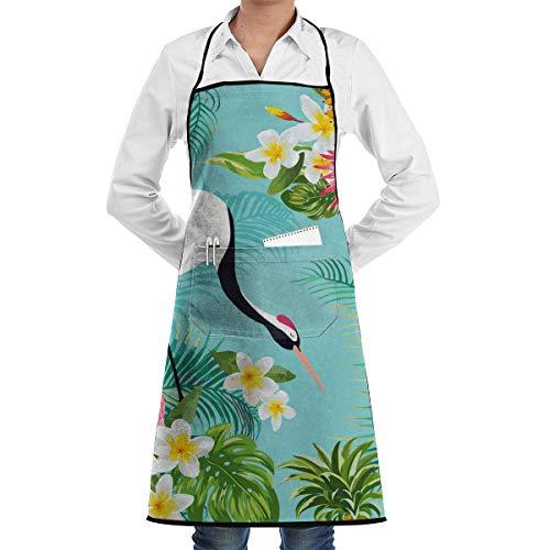 Naadloos Patroon Met Japanse Kranen En Bloemen 1 Stuk Verstelbare Schort Pocket Voor Mannen En Vrouwen In Koken, Barbecue En Bakken