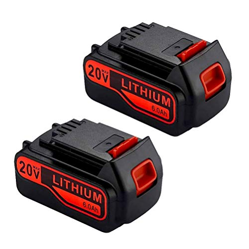 2 Pack 6.0Ah LBXR20 Replacement for Black and Decker 20V Lithium Battery Max LB20 LBX20 LST220 LBXR2020-OPE LBXR20B-2 LB2X4020