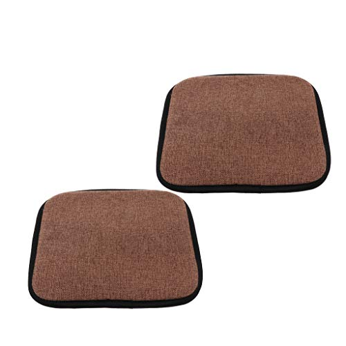2Pieces Square 45cm Cotton Brown Office Home Chair Cushion Dining Chair Pads with Gripper Backing