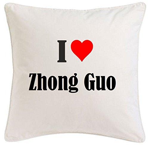 Reifen-Markt la funda de almohada I Love Zhong Guo 40cm x 40cm microfibra regalo ideal y la decoración de buen gusto para cada sala de estar o el dormitorio en color blanco con cremallera