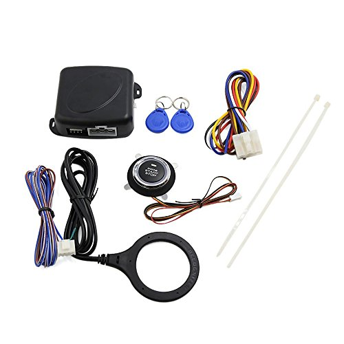 Gzcrdz Smart RFID Alarme de voiture Système push Démarrage du moteur Bouton d'arrêt transpondeur d'immobilisation sans clé Go compatible avec pour 12 V voitures voitures Mate 9002