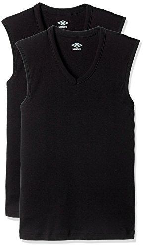 [アンブロ] Tシャツ (男の子用) Vネックスリーブレス 2枚組 ブラック 日本170 (日本サイズ170相当)