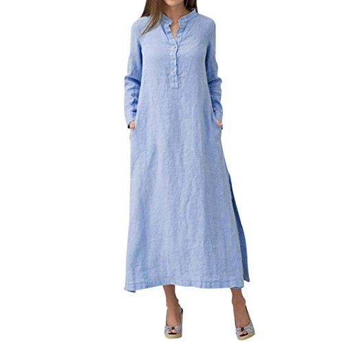 FNKDOR Damen Langarm Casual Leinen Baumwolle Maxikleider Leinenkleid (L, Blau)
