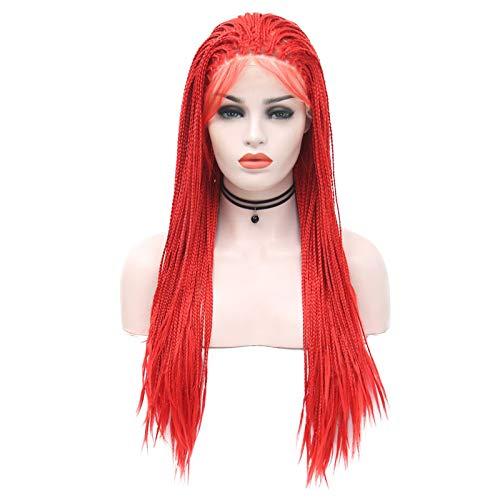 Peluca de encaje frontal de alta calidad, de color rojo, con encaje frontal, micro trenzas, pelo trenzado, de pelo trenzado para mujer (26 pulgadas)