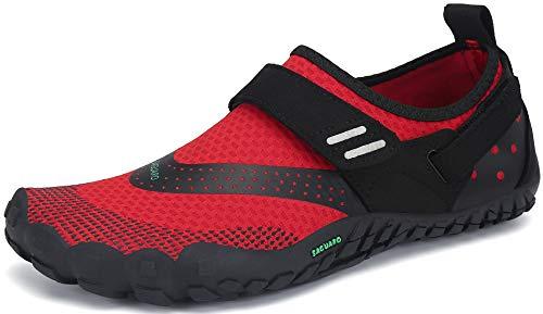 SAGUARO Hombre Mujer Minimalistas Zapatillas de Trail Running Ligeras y Respirable Zapatos Descalzos Gym Playa Calzado de Deportes Acuaticos para Asfalto Correr Senderismo, Rojo 38 EU