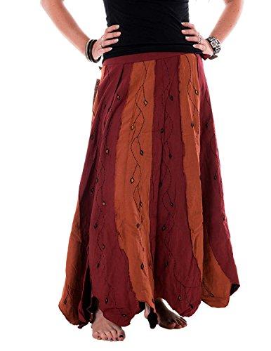 Vishes – Alternative Bekleidung – Weiter, schwingender Wickelrock aus handgewebter Baumwolle – mit Blumen Bestickt orangerot Einheitsgröße bis 40