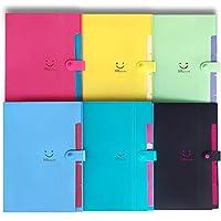 イニシャルハート5ポケットの6色の拡張ファイルフォルダーアコーディオンフォルダーオーガナイザーA4レターサイズプラスチックスナップクロージャーペーパーオーガナイザードキュメントホルダー学校やオフィス、旅行に使用 (6色ファッション)
