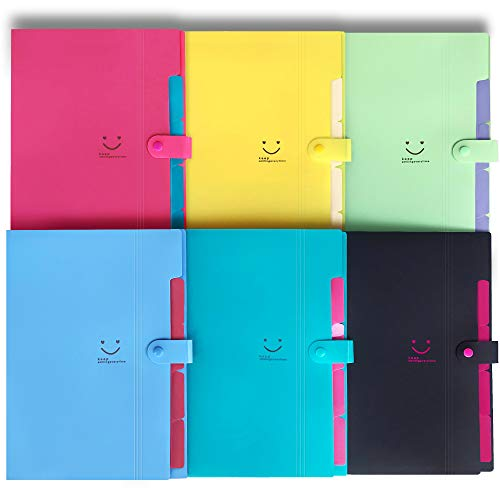 Initial heart 6 Colored Expanding File Folders with 5 Pockets Accordian Folder Organizer A4 Letter Size Plastic Snap Closure Paper Organizer Document Holder for School Office Travel(6 colores fashion)