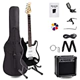 Display4top – Kit de guitare électrique complet pour débutant avec amplificateur de 20 W, support de guitare, sac, médiator de guitare, sangle, cordes de rechange, accordeur, étui et câble