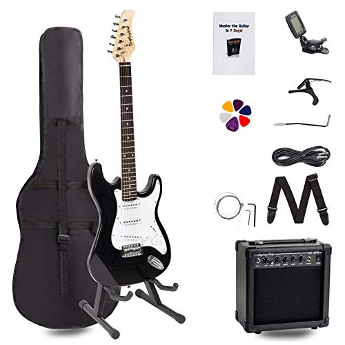 Display4top Kit complet pour guitare électrique avec amplificateur 20 W, support de guitare, sac, médiator de guitare, sangle, cordes de rechange, accordeur, étui et câble Format classique