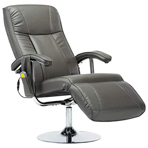 vidaXL Massagesessel mit Massage Heizung Elektrisch Relaxsessel Fernsehsessel TV Sessel Ruhesessel Liegesessel Relaxliege Grau Kunstleder