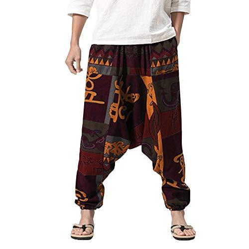 Celucke Herren Haremshose mit Gedruckten,Männer Pumphose Aladinhose Pluderhose Yoga Goa Hosen Baggy Freizeithose
