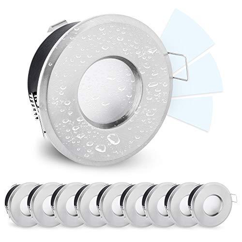 linovum 10er Set LED Deckenspot IP65 Edelstahl Optik rund fourSTEP Dim 230V neutralweiß - dimmen ohne Dimmer - wassergeschützt