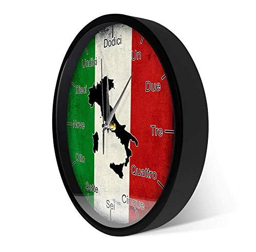 WLALLSS Italienische Sprache Smart Wanduhr Italien Flagge mit Karte Patriotische Wohnkultur Modernes Design Sound aktiviert Nachtlicht Wanduhr