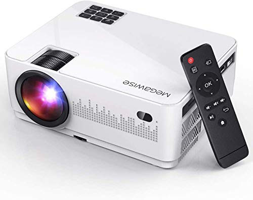 MegaWise Mini Video Projector, Portable Movie Projector with 50,000H Lamp Life, 1080P Supported with 2xHDMI/2xUSB Ports, Compatible with TV Stick, Video Games, Smart Phone, HDMI,USB,TF,VGA,AUX,AV
