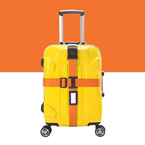 NUOLUX Gepäckgurt Kofferband rutschfest Kreuz Gepäck Gurt mit Passwort 3-stelligen Zahlenschloss (Orange)