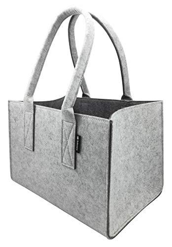 Shopper Filztasche Premium, große Einkaufs-Tasche mit Henkel, Einkaufskorb, faltbare Kaminholztasche zur Aufbewahrung von Holz, vielseitige Tragetasche auch zur Spielzeug Aufbewahrung, Grau/Dunkelgrau