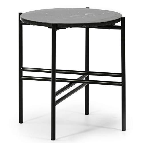 VS Venta-stock Side table Round coffee table Bombay with Black Marble top and metal legs in Matte Black/DIAMETER: 41 cm