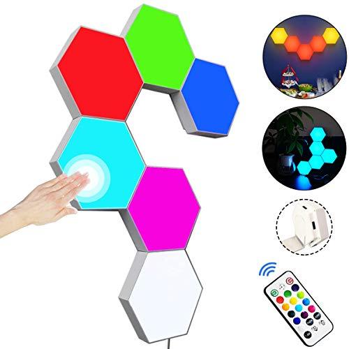 Paneles LED Hexagonal con Control Remoto,Luces LED Pared Control Táctil RGB Neon Pared Inteligentes Luz Nocturna,Panel LED de Empalme de Geometría Bricolaje para Dormitorio/Sala/Fiesta, Paquete de 6