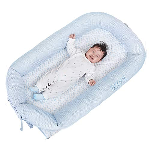 Tipo de coche de bebé Cuna, Sala de estar Balcón Jardín portátil Colchón de bebé - comida campestre que acampa del césped bebé alfombra de juego infantil Tumbona ( Color : Blue , Size : 100*50