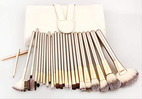 12/18/24 Pinceau De Maquillage En Fibre De Cheveux Beige Avec Des Outils De Maquillage En Bois 24 Champagne Beige + Pack De Pinceaux Haut De Gamme
