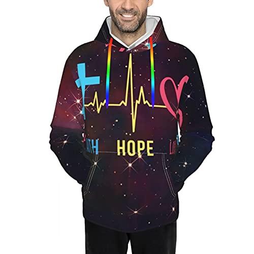 Sudadera con capucha para hombre con capucha, Faith Hope Love Cross Heartbeat Galaxy, Negro, M