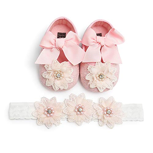 SOFMUO Baby Girls Soft Sole Floral Mary Jane Flats Infant Princess Prewalkers Toddler Wedding Dress Shoes with Headband(Pink,6-12 Months)