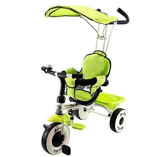DREAMADE 4 en 1 Tricycle Evolutif Enfant 1-4 Ans avec Auvent,Barre de Poussée,Garbe-Corps,Panier de Rangement,3 Roues,Kit d'Accessoires pour Filles,Garçons Vert/Rouge (Vert)