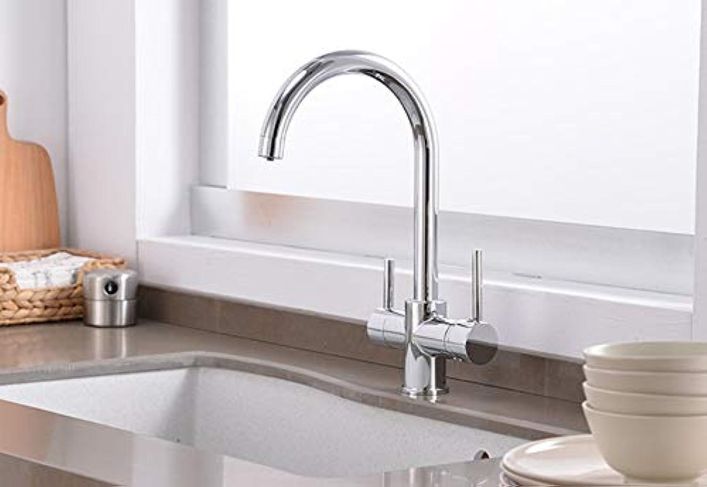FUJUNJIE Trinkwasseraufbereitung Wasserhahn Beige und Chrom Spüle Wasserhahn Design 360-Grad-Drehfilter Küchenarmatur