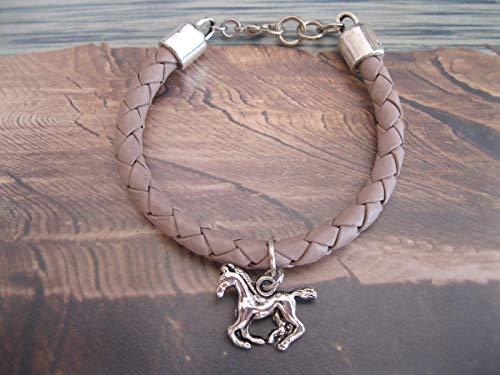 Handmade Kinder Mädchen Echt Leder Armband Puder- Hell Beige, geflochten, Pferde Anhänger