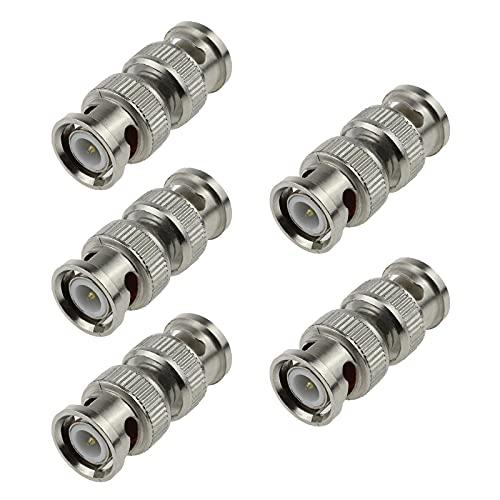 5 adaptadores BNC macho a macho, 50/75 ohm, 26 W, para cámara de seguridad de vídeo CCTV conector recto, cables de vídeo SDI/BNC, aleación
