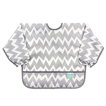 Bumkins Sleeved Bib Baby Bib Toddler Bib Smock Waterproof Fabric Fits Ages 6-24 Months – Chevron Gray
