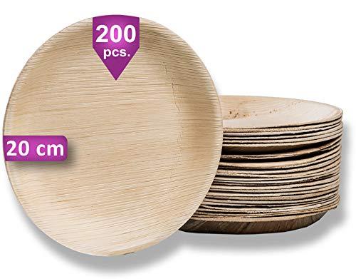 Waipur Piatti in Foglia di Palma Biologici – 200 Piatti Rotondi Ø 20 cm – Piatti usa e getta Biodegradabili di Alta Qualità – Leggeri ma Resistenti –