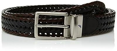 Nautica Men's Leather Reversible Belt, white/navy, 32