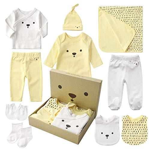 QSEFT Vestiti delle Neonate del Neonato I Bambini 0-12 Mesi Neonati I Vestiti della Ragazza dei Ragazzi Vestiti del Bambino Scatola del Regalo 10Set,Yellow,0~12M