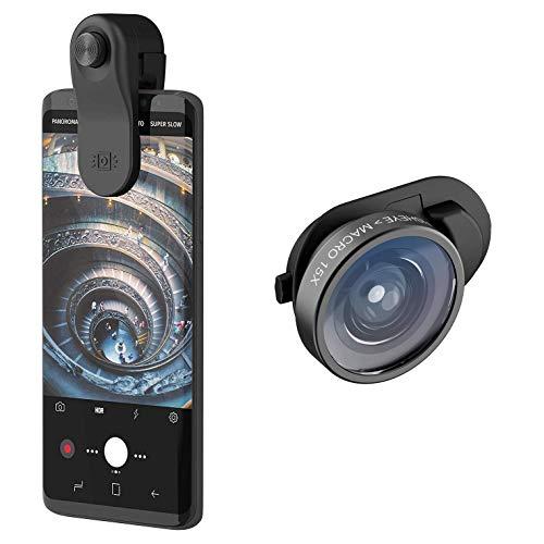 olloclip Universelles Smartphone & Tablet Clip-On Objektiv mit Weitwinkel- & Makro-Linse für Samsung, Huawei, iPhone, Linsen-Set, Kamera-Objektive für Smartphones, Universal-Clip, Handy Accessoires