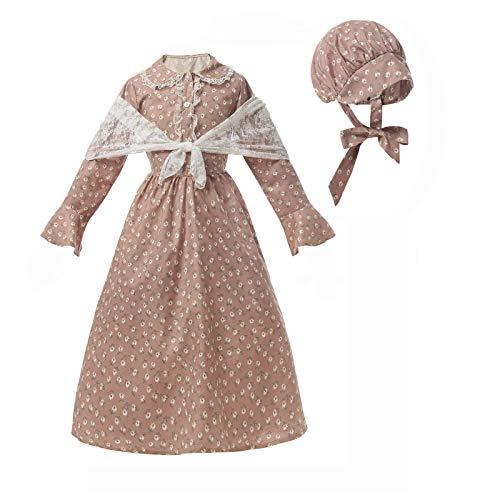 NSPSTT Colonial Costume Girls Prairie Pioneer Dress Laura Ingalls Wilder Costume C-M Pink
