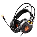 Gaming Headsets with Surround Sound Stereo, Headset with Noise Canceling Mic & LED Light Headset with Headset Stand