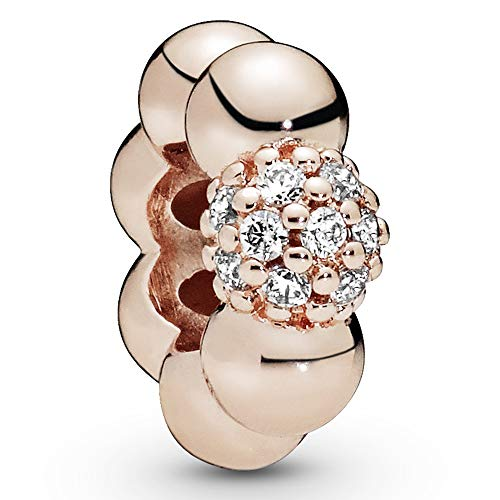 Pandora Jewelry Polished and Pave Bead Cubic Zirconia Charm in Pandora Rose