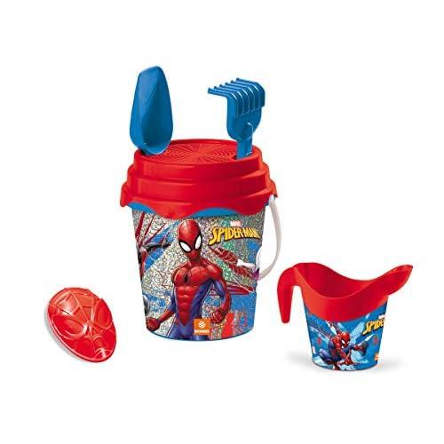 Mondo Toys Marvel Spiderman Glitter Bucket Set, Set Mare Renew Toys con Secchiello, Paletta, Rastrello, Setaccio, Formina, Annaffiatoio Inclusi, 28598