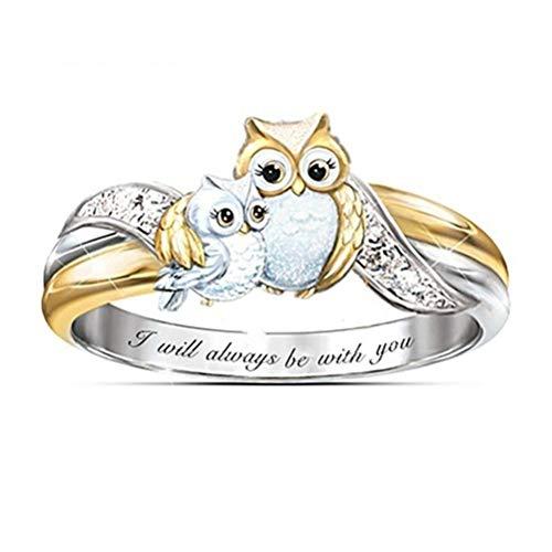 Gazaar Anillo de búho con incrustaciones de diamante, anillo de mamá hijo, cumpleaños, día de la madre, anillo de circonita con incrustaciones de diamante, joyería familiar I Love You