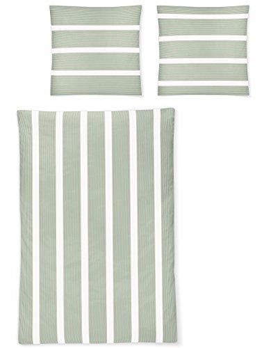 Irisette Mako-Satin-Bettwäsche EOS 8763-30 Grün Gestreift aus 100% Baumwolle