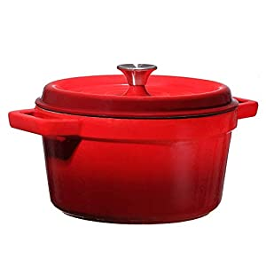 Enameled solid cast-iron offers superior and even heat retention while vibrant porcelain-enamel exterior offers contemporary styling Foods will not react with the easy-to-clean, PFOA- and PTFE-free porcelain enamel cooking surface Self-basting conden...
