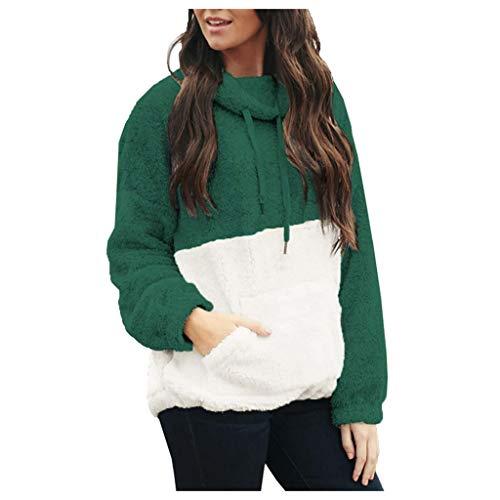GreatestPAK Damen Fleece Hoodie Langarm Kordelzug Taschen Sweatshirt Einfarbig Warm Plüsch Pullover Übergröße,Grün_15,S (Büste:92cm)