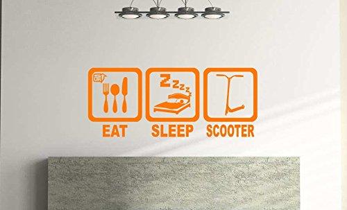 Eat Sleep Scooter, vinilo adhesivo de pared para niños, dormitorio, sala de juegos (57 cm x 23 cm) envío gratis de primera clase (naranja)