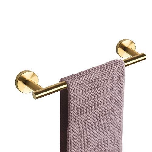 NearMoon Bathroom Towel Bar, Bath Accessories Thicken Stainless Steel Shower Towel Rack for Bathroom, Towel Holder Wall Mounted (Brushed Gold, 16 Inch)
