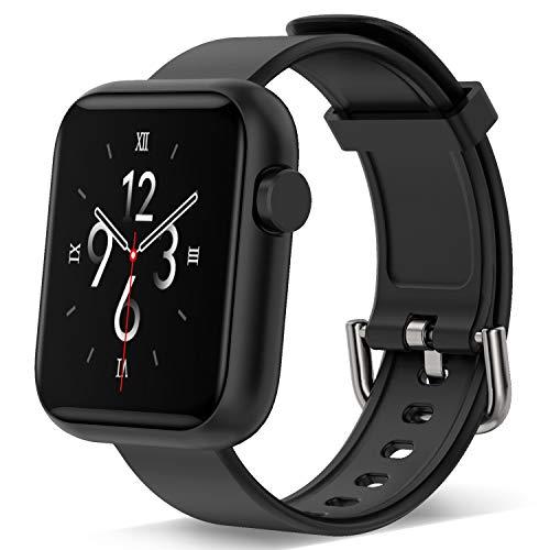 Smartwatch für Männer, Frauen, Fitness-Tracker mit Touchscreen, 1.3 Herzfrequenz-Monitor, Schrittzähler, wasserdicht für Sport, Damen, Herren, iOS Android (schwarz)