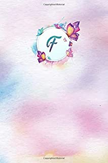 F: Watercolor Butterflies Monogram Letter F Notebook Alphabetical Journal for Writing & Notes, Personalized Diary Monogrammed Gift for Men & Women (6x9 110 Ruled Pages Matte Purple Cover)
