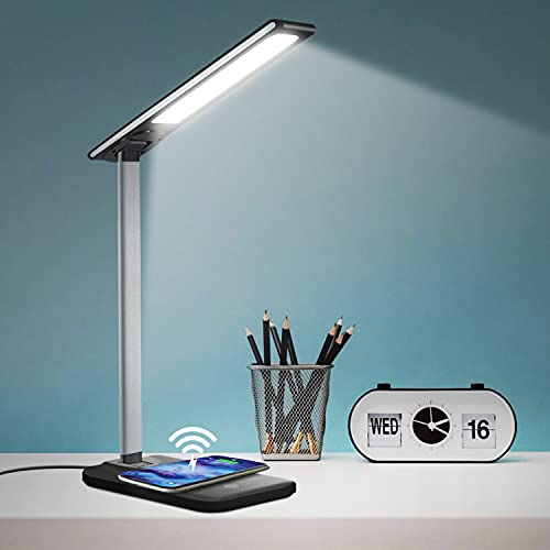 GSBLUNIE LED Desk Lamp with Wireless Charger,3 Modes 6 Brightness Dimmable Office & Study Table Lamp with USB Charging Port,Touch Sensor Reading Lamp for Study,Work,Home,Office