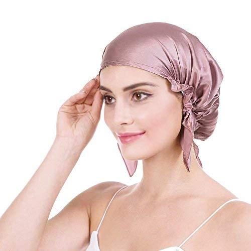 Emmet Bonnet de nuit 100 % soie de mûrier douce 19 momme pour perte de cheveux pour femme, avec ruban élastique réglable - Rose - taille unique